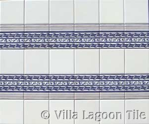 Double row of blue and white tile borders of delft tile