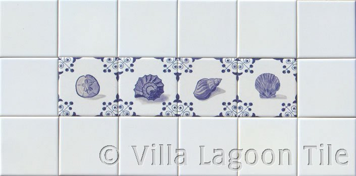 Blue sea shells tile