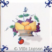 small fruit on delft tile