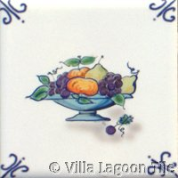 small bowl of fruit delft tile