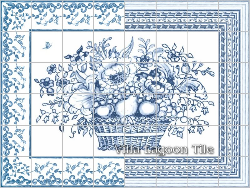 Delft tile flower basket panel-architectural