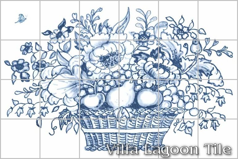 Delft tile backsplash basket mural villa lagoon tile for Delft tile mural
