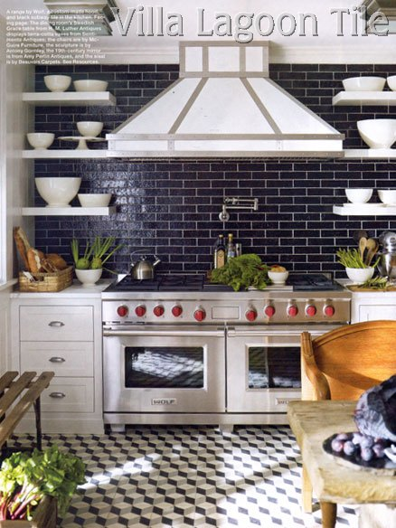 Elle Decor geometric kitchen floor tile