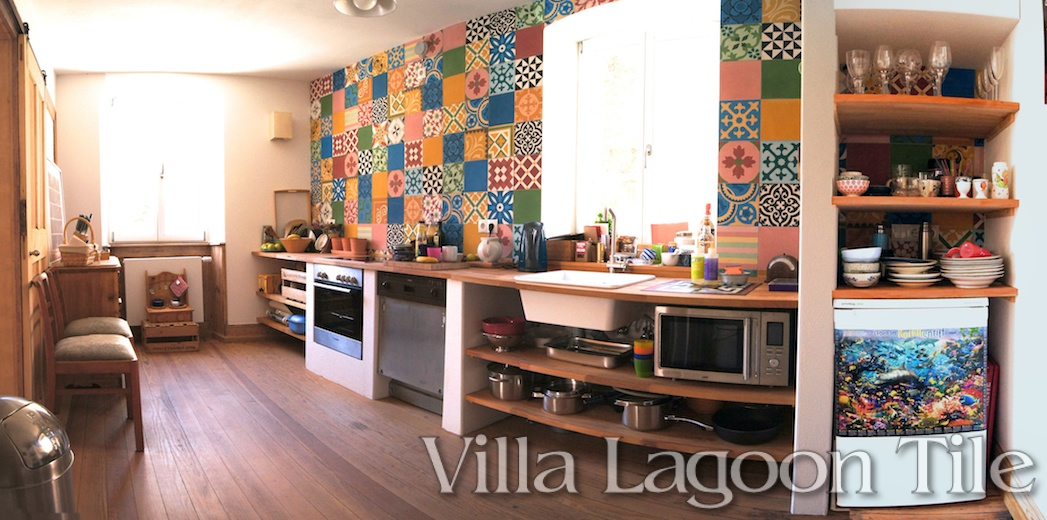 German kitchen with patchwork tiles