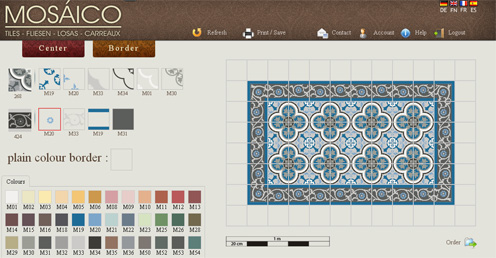 Tile design simulator tool for European orders