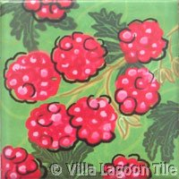 Raspberry deco fruit tile