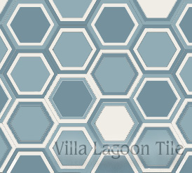 Rings pattern on a hexagonal tile