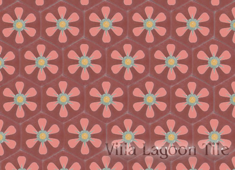 Daisy flower hex cement tile