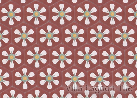 Hex tile with flower pattern
