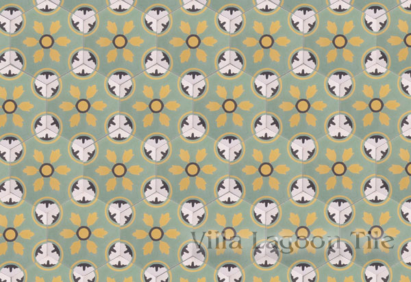 An all over design of hexagonal tiles