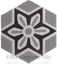 Margarite hexagonal cement tile in black and white pattern