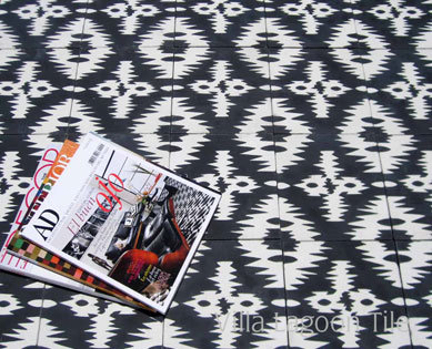 Ikat zig zag floor tiles which looks like Ikat fabric