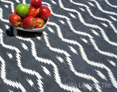 Ikat style floor tiles striped