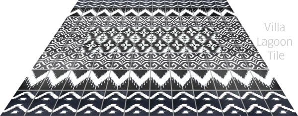 Ikat tile rug design