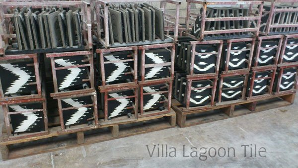 Our exclusive Ikat patterns curing on racks. These patterns are copyright Villa Lagoon Tile.