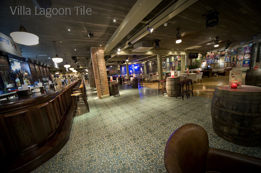 Commercial cement tile photo tour villa lagoon tile for Commercial bar flooring