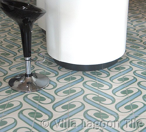 Surf Agua kitchen floor of cement tile