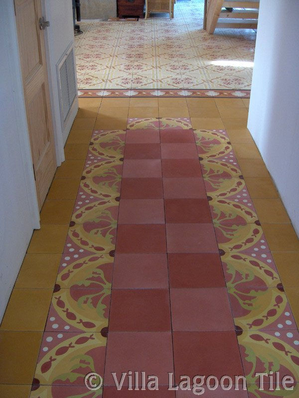 Colorful cement tile hallway with pescado coral