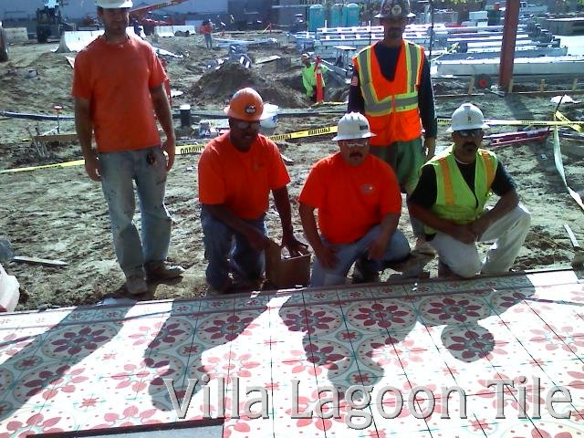 Tile workers at the Ambassador Hotel site