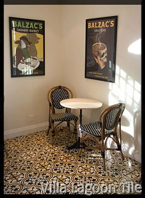 Roseton cement tile in Balzacs Coffee