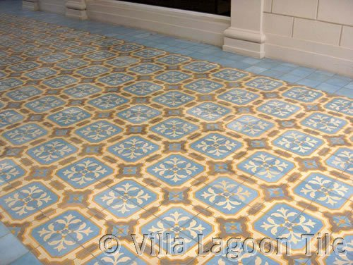 Cement tile pavement outdoors
