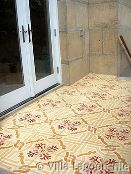 Cement tile stair landing