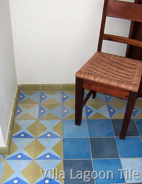 Contemporary fish design cement tile floor