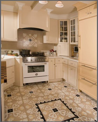 Cement tile desiger 39 s corner villa lagoon tile for Tile patterns for kitchen floor