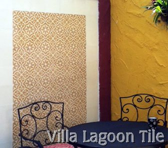 Cement tile accent wall, from Villa Lagoon Tile.