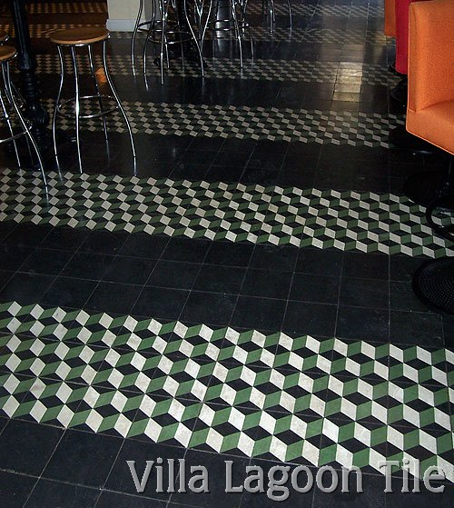"""Cubes"" cement tile floor in a reataurant bar in Miami"