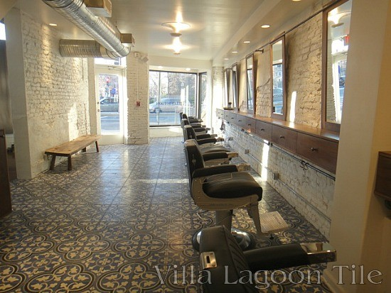 Main floor of The Barber of Hell's Bottom, featuring Roseton tile from Villa Lagoon Tile