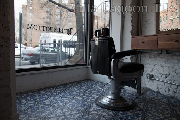 Hell's Bottom... DC's trendy new barbershop, with cement tile from Villa Lagoon Tile
