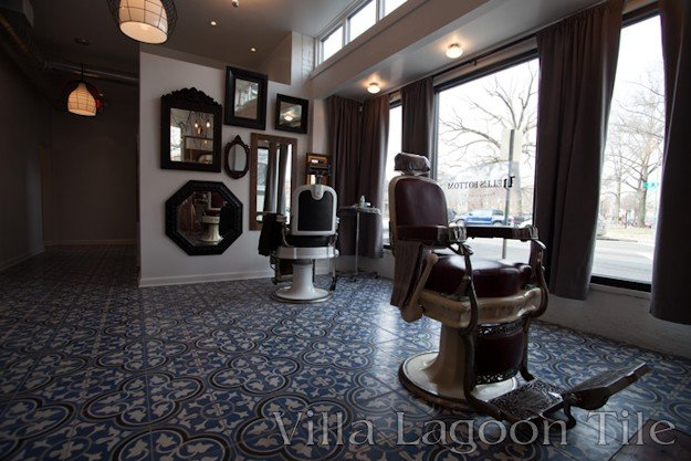 Washington DC's hot new barber shop, with cement tile from  Villa Lagoon Tile