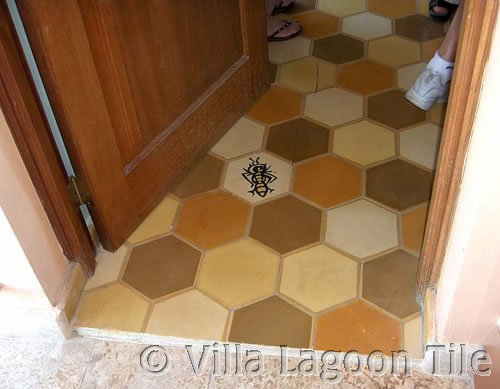 Hexagonal cement tile on a residentail floor