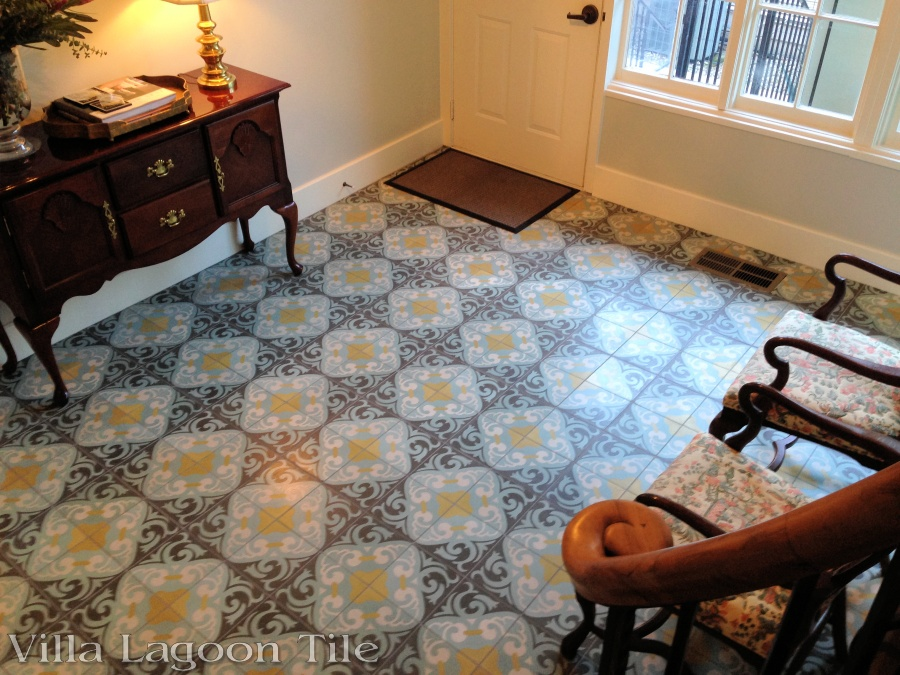 La Espanola cement tile in a home foyer.