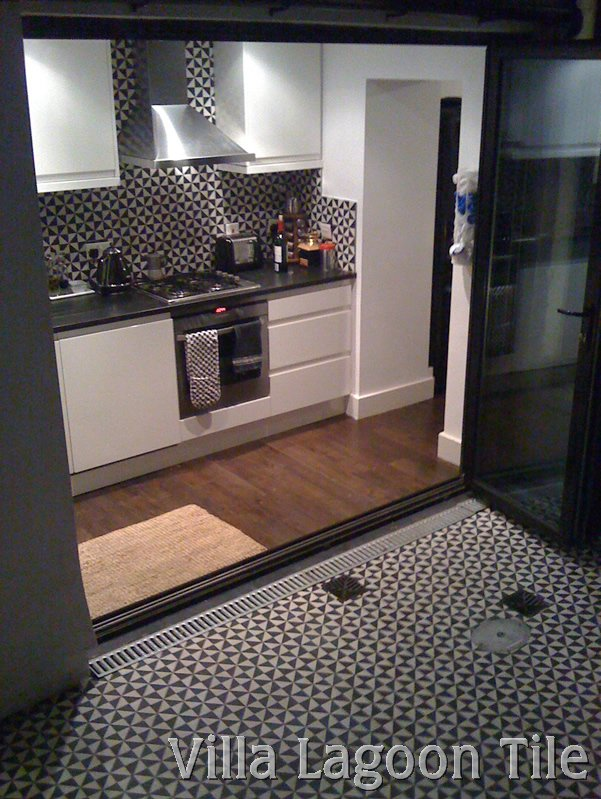 cement tile in a london kitchen and patio
