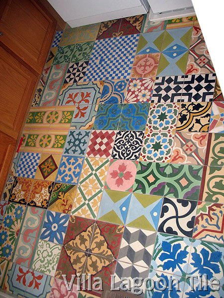Cuban tile patchwork floor laundryroom