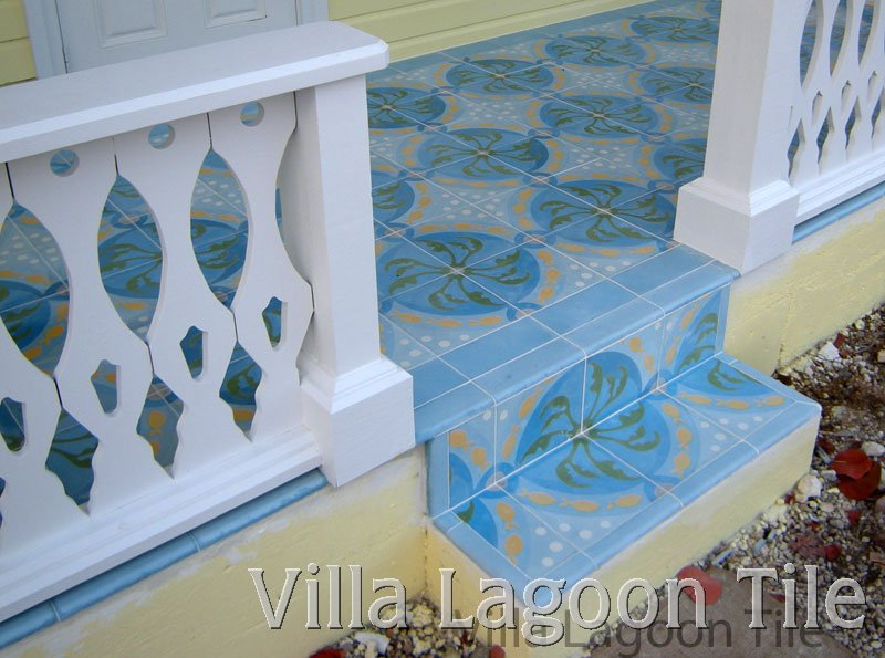 Pescado Cuban tile porch steps