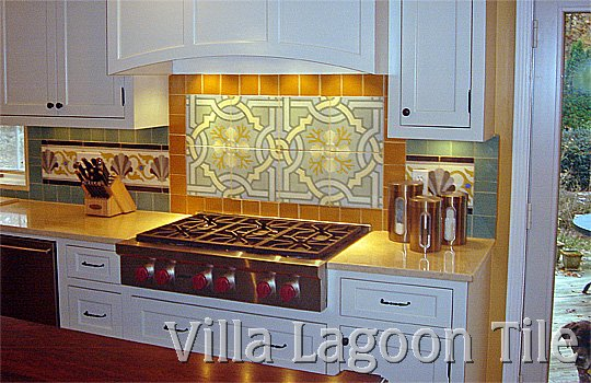 Stove backsplash of cement tile