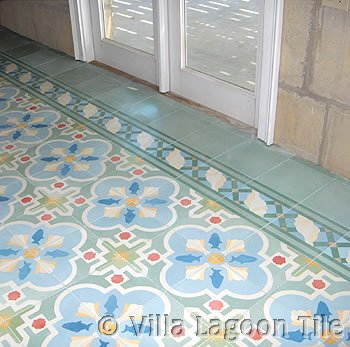 Cement tile guestroom floor