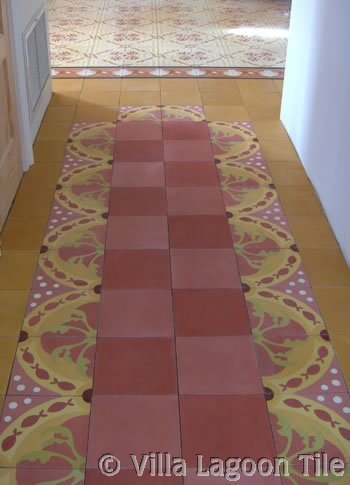 Solid Colors in concrete tile with patterned tile border
