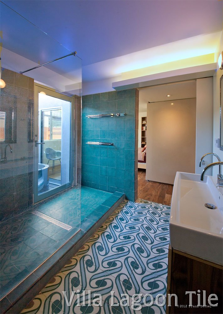 Surf Aqua Contemporary Cement Tile Bathroom