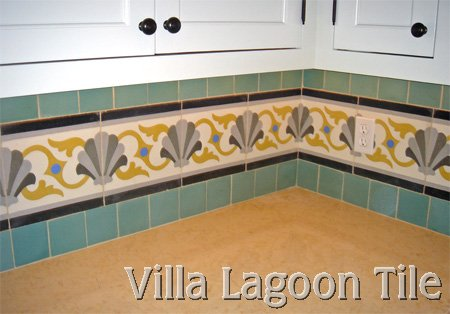 Cement tile in American kitchen