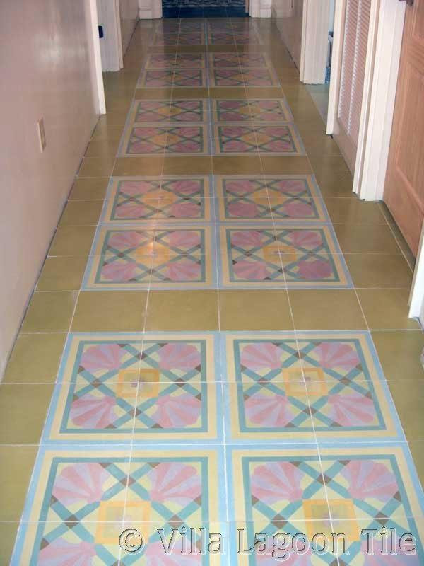 Encaustic cement tile floor design ideas villa lagoon tile for Floor tiles border design