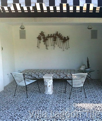 California cement tile backyard retreat