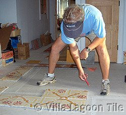 Marking floor for tile layout