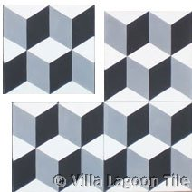 classic french tile design black and white