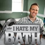 "Logo of DIY Network television show, ""I Hate My Bath"", with host Jeff Devlin."