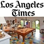 Los Angeles Times logo, with a photo of The Bungalow, using patchwork cement tile.