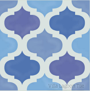 Custom Salamanca cement tile in blues.